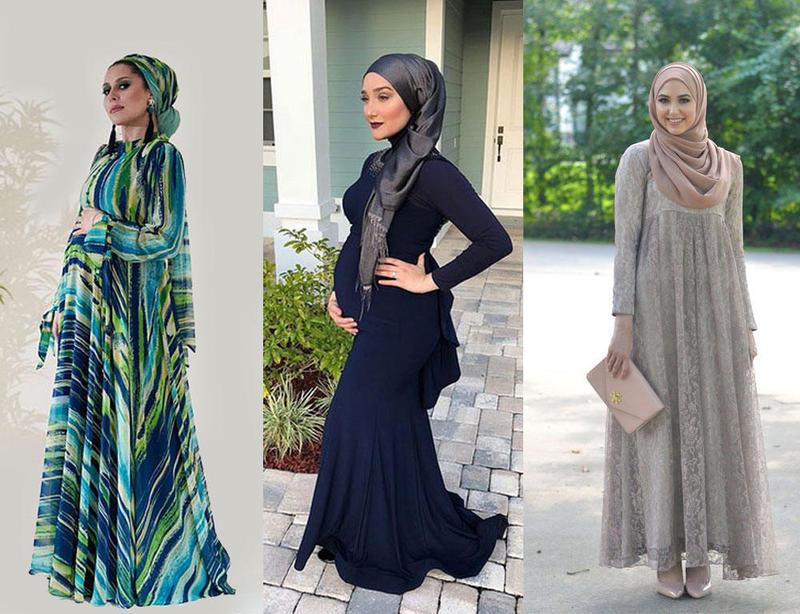 فساتين سهرة للمحجبات الحوامل على طريقة مدونات الموضة