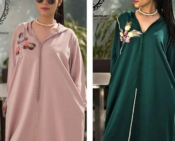 صورة تصميم جلابية مغربية باللون الأخضر ومع النقوش الذهبية