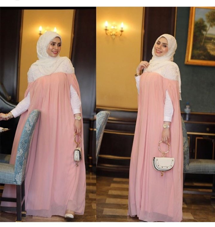 رضوى جلال بفستان سهرة واسع للمحجبات الحوامل