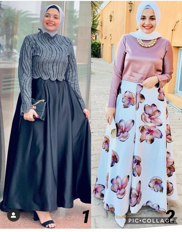 اية فوزي بفساتين سهرة متنوعة تناسب الحوامل المحجبات
