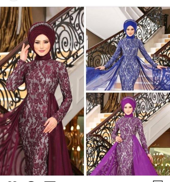 فستان خطوبة باللون الموف للمحجبات