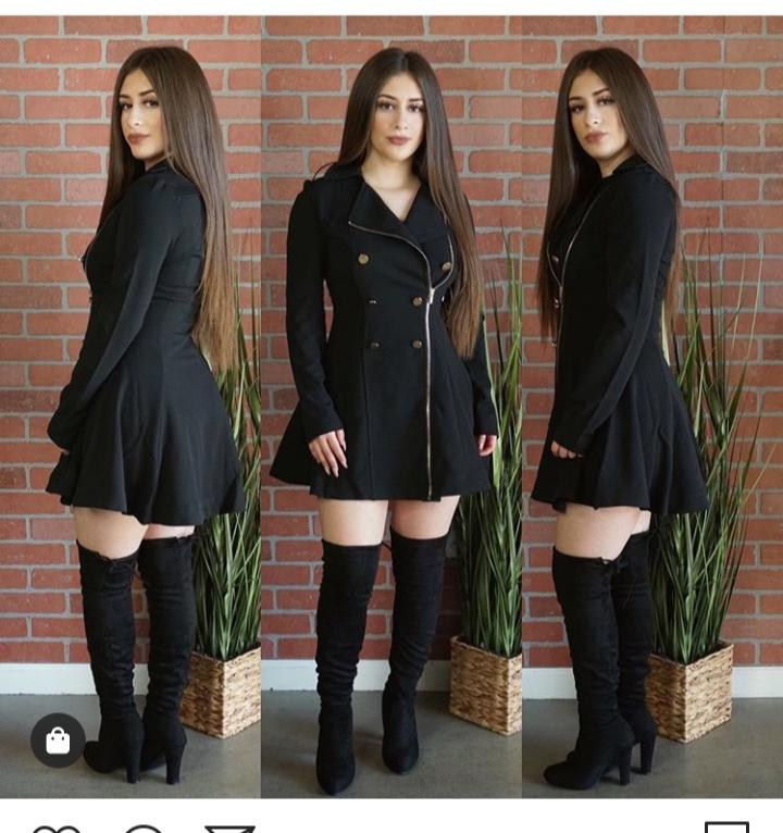 صورة تصميم فستان شتوي قصير باللون الاسود