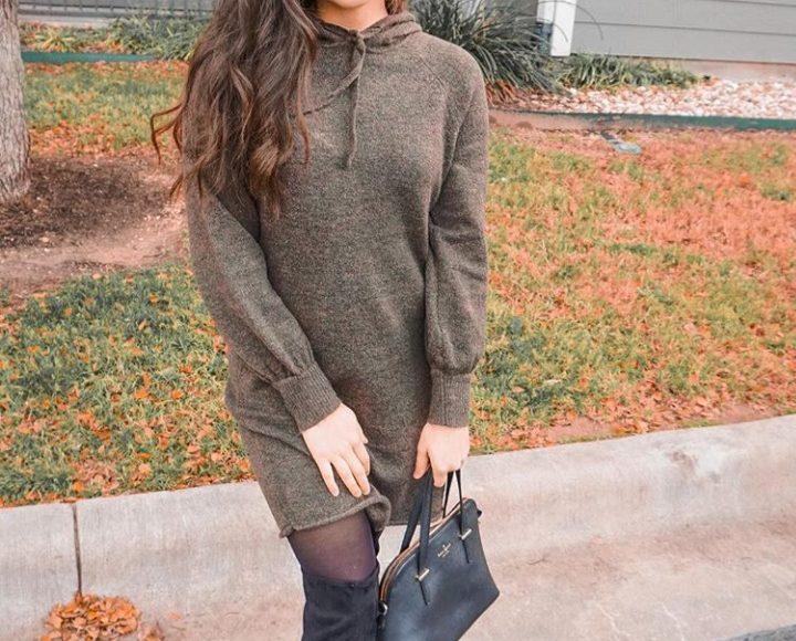 صورة تصميم فستان شتوي قصير باللون البيج