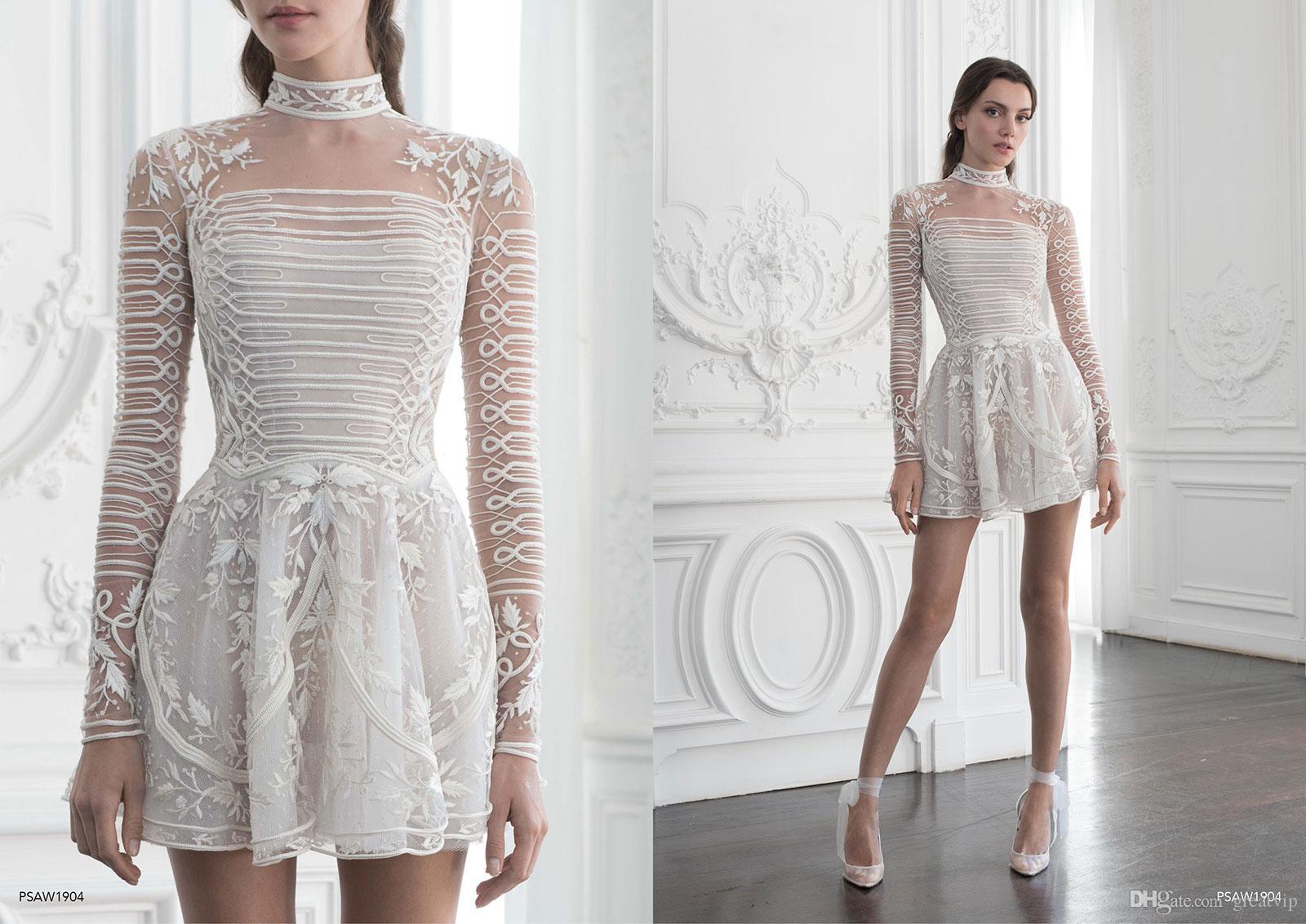 تصميم موديل فستان قصير للسهرة باللون الأبيض