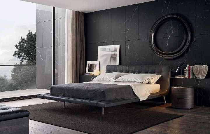 احدث أشكال ديكورات غرف النوم من الرصاصي والأسود 2020