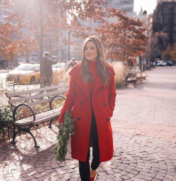 معطف شتاء احمر
