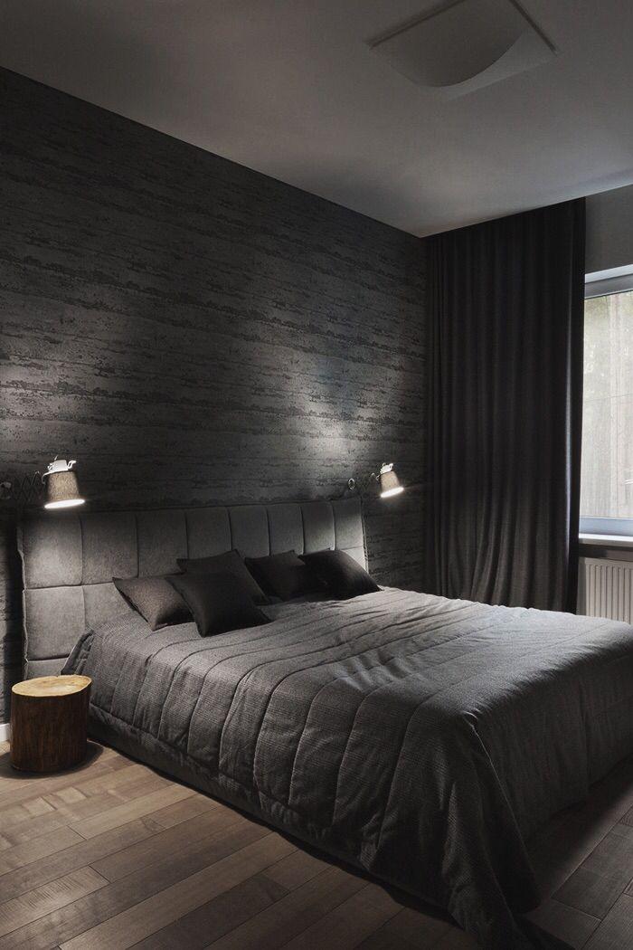 الطابع الفخم يميز غرف النوم من اللون الأسود ورصاصي
