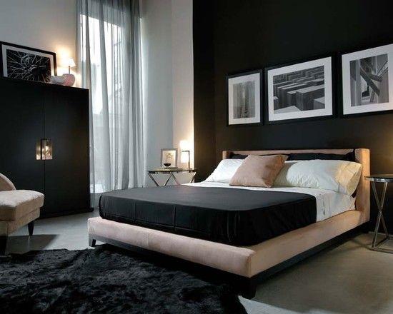 تصميم مميز لغرفة نوم من اللونين الأسود والرصاصي