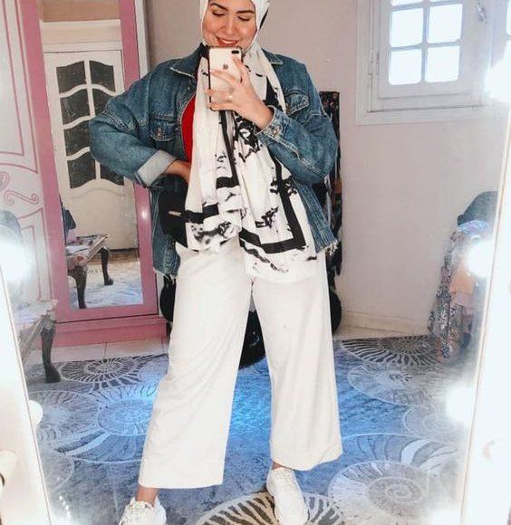 جاكيت جينز ازرق طويل للمحجبات