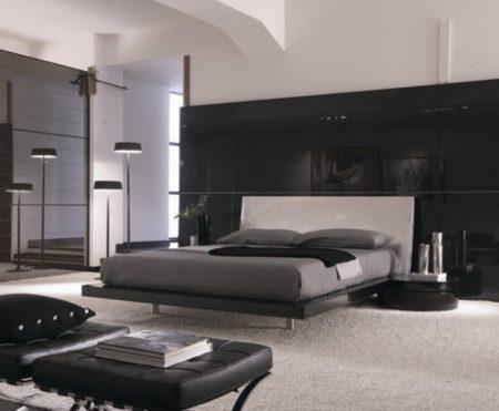 ديكور مودرن لغرف نوم من اللونين الأسود والرصاصي
