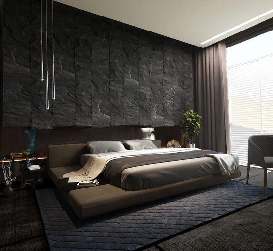 غرف نوم مودرن من اللون الأسود
