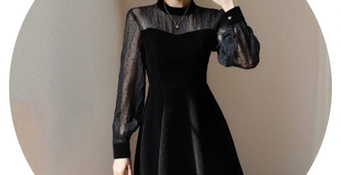 تصميم فستان سهرة من المخمل باللون الأزرق الأسود