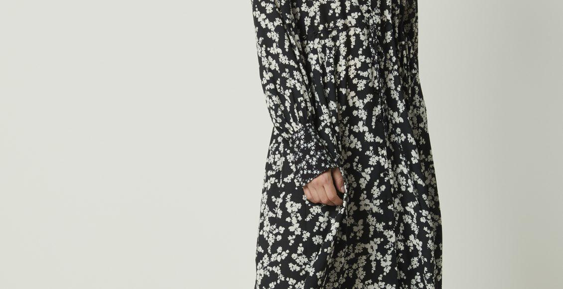 فستان ميدي ملون منقوش