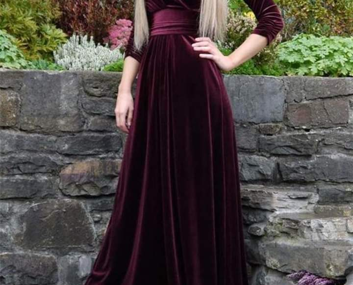 تصميم فستان سهرة قطيفة يلائم المحجبات