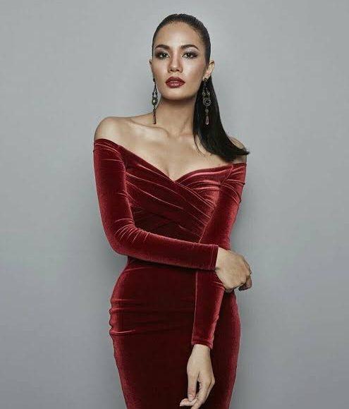 فستان سهرة من المخمل باللون الأزرق الأحمر الداكن