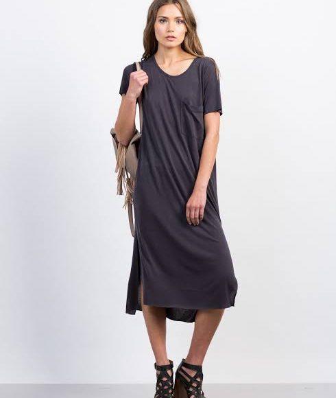 تصميم فستان ميدي ملون سادة