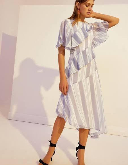 تصميم فستان ميدي ملون منقوش