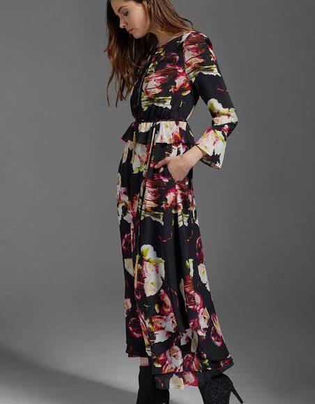 صورة تصميم فستان ميدي ملون منقوش
