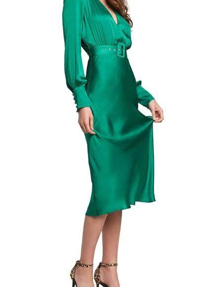 صورة تصميم فستان ميدي ملون سادة