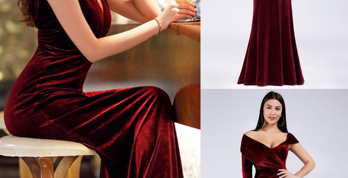 صورة فستان سهرة من المخمل باللون الأزرق الأحمر الداكن