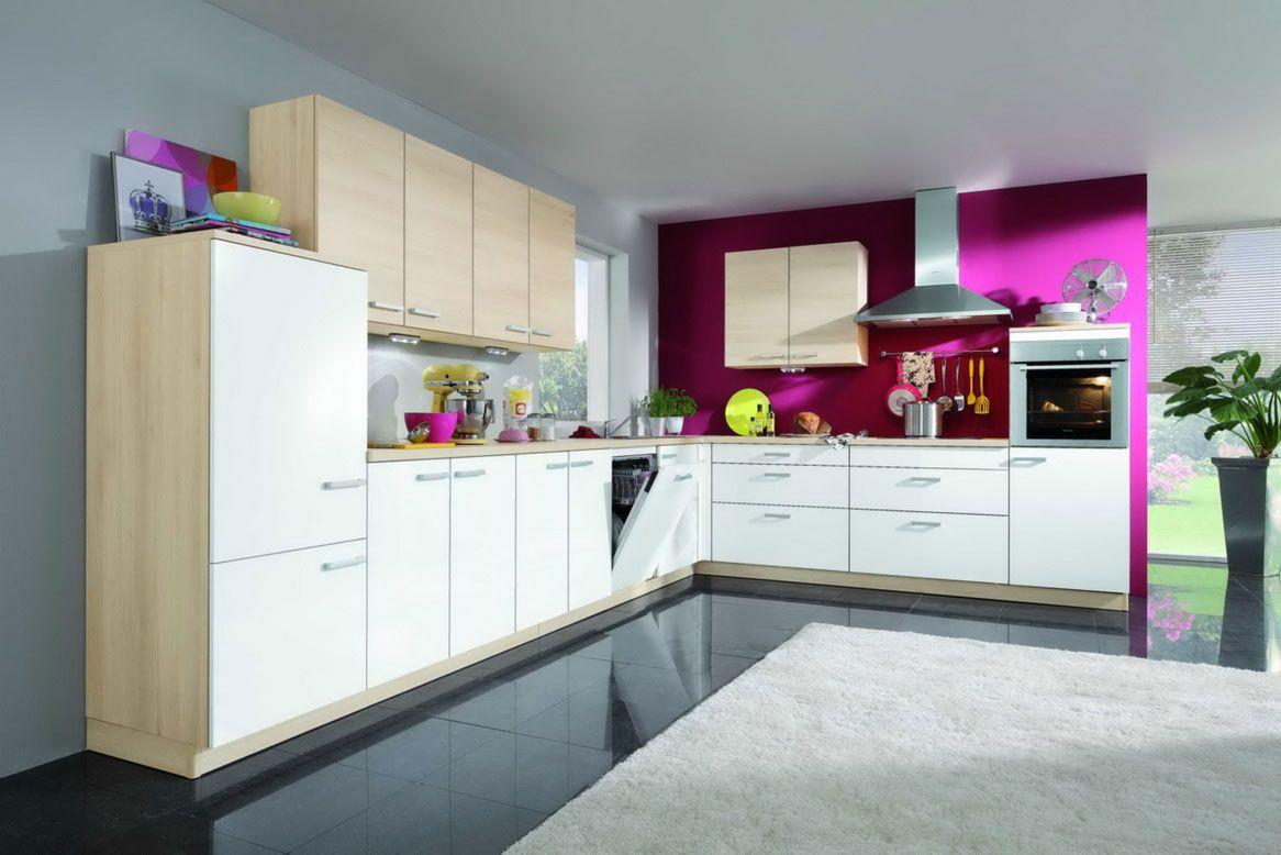 ألوان المطابخ الخشب المودرن الجديدة Fuchsia-Light-Neutrals-Kitchen