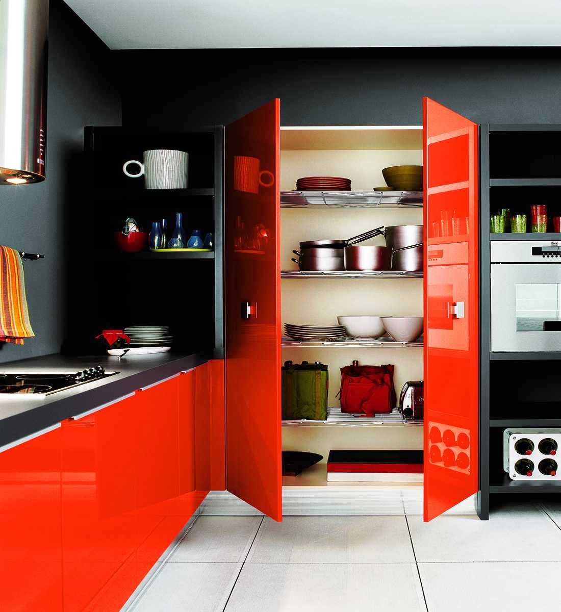 ألوان المطابخ الخشب المودرن الجديدة Poppy-orange-and-ebony