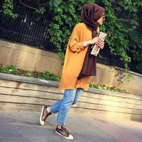 اللون الخردلي للمحجبات موضة العام